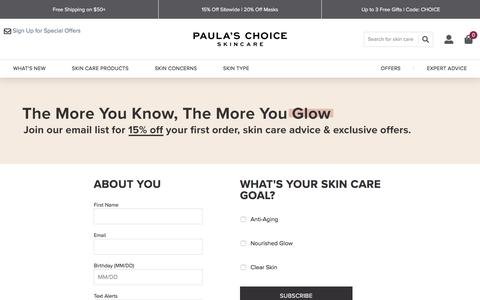 Screenshot of Signup Page paulaschoice.com - Paula's Choice - captured Oct. 31, 2019