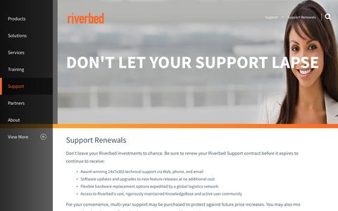 Screenshot of Support Page riverbed.com - Support Renewals | Riverbed | NL - captured March 1, 2018