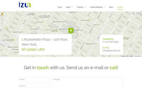 Screenshot of Contact Page izunpharma.com - Contact - Izun Pharmaceuticals - captured Nov. 3, 2014
