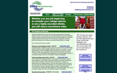 Screenshot of Services Page elitesportsmarketingllc.com - Services - captured Oct. 2, 2014