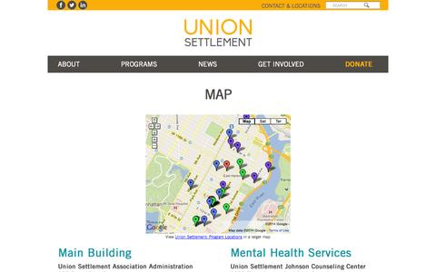 Screenshot of Maps & Directions Page unionsettlement.org - Map | Union Settlement - captured Oct. 9, 2014