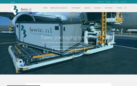 Screenshot of Home Page fawic.nl - Fawic specialist in Transport boxen & transport verpakking - captured Sept. 8, 2015