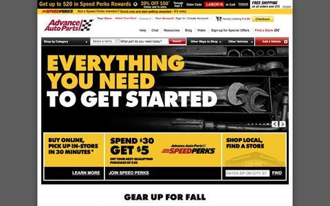 Screenshot of advanceautoparts.com - Advance Auto Parts: Car, Engine, Batteries, Brakes, Replacement, Performance & Accessories - captured Sept. 2, 2016