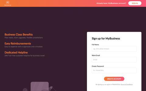 Screenshot of Signup Page makemytrip.com - Sign Up - captured Aug. 2, 2017