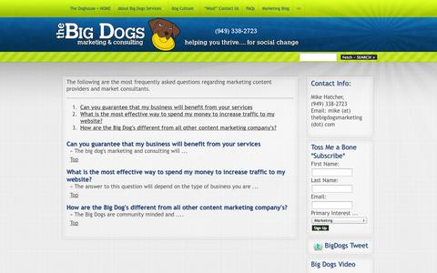 Screenshot of FAQ Page thebigdogsmarketing.com - FAQs | The Big Dogs Marketing & Consulting - captured Oct. 7, 2014