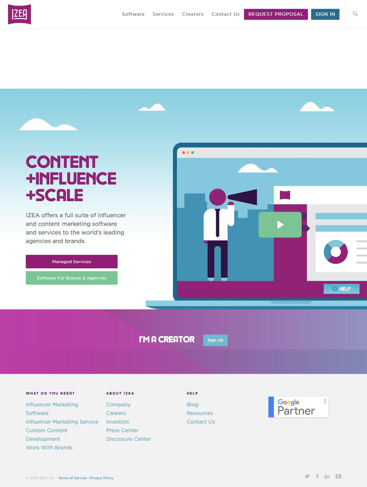 Screenshot of izea.com - IZEA: Influencer and Content Marketing Software At Scale - captured June 5, 2018