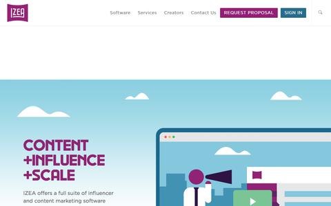 Screenshot of Home Page izea.com - IZEA: Influencer and Content Marketing Software At Scale - captured June 5, 2018