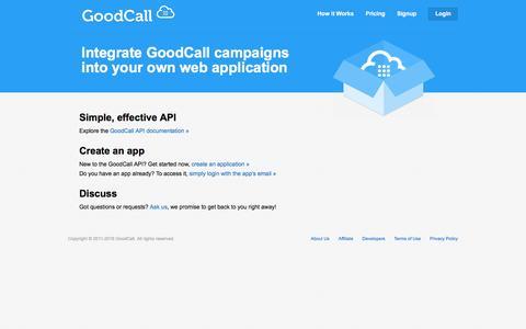 Screenshot of Developers Page goodcallinc.com - GoodCall - Developers - captured Nov. 11, 2016
