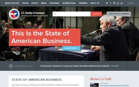 Screenshot of Home Page uschamber.com - U.S. Chamber of Commerce - captured Jan. 20, 2016