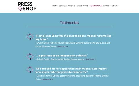 Screenshot of Testimonials Page pressshoppr.com - Testimonials — Press Shop - captured Nov. 5, 2018