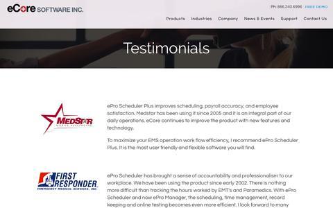 Screenshot of Testimonials Page ecoresoftware.com - Testimonials and Reviews for ePro Employee Scheduler Software - eCore - captured April 15, 2018