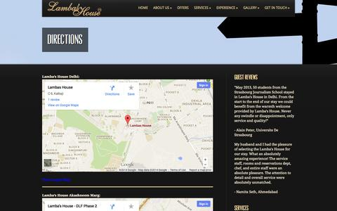 Screenshot of Maps & Directions Page lambashouse.com - Guesthouse in Delhi | Guesthouse  in Kalkaji - captured Sept. 29, 2014