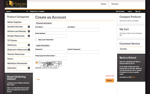 Screenshot of Signup Page ljharper.com.au - Create New Customer Account - captured Nov. 1, 2014