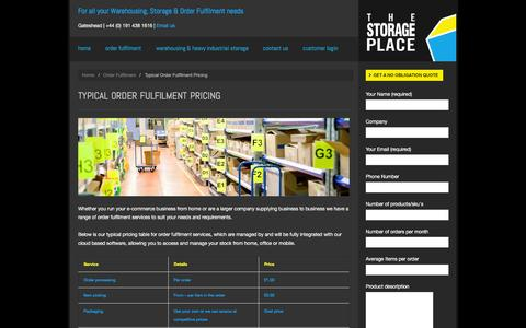 Screenshot of Pricing Page thestorageplace.co.uk - Typical Order Fulfilment Pricing | The Storage Place - captured Feb. 15, 2016
