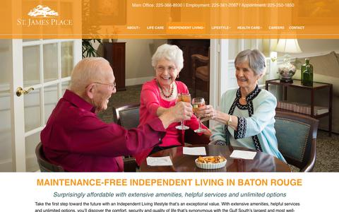 Screenshot of Pricing Page stjamesplace.org - Independent Living | St. James Place | A Life Care Community in Baton Rouge, LA - captured Nov. 16, 2018