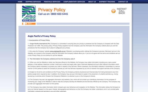 Screenshot of Privacy Page anglopacific.co.uk - Privacy Policy - captured Sept. 22, 2018