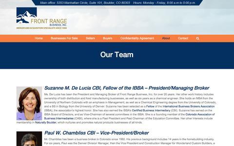 Screenshot of Team Page frontrangebusiness.com - Our Professional Team | Front Range Business, Inc. - captured Sept. 24, 2018