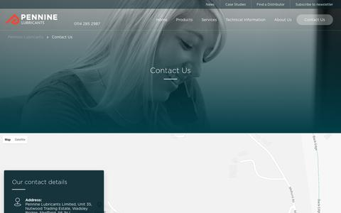 Screenshot of Contact Page penninelubricants.co.uk - Get in touch with Pennine Lubricants - captured Sept. 27, 2018