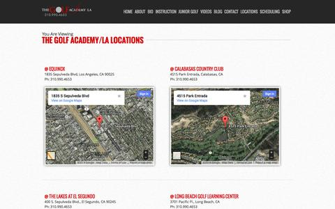 Screenshot of Locations Page thegolfacademyla.com - The Golf Academy/LA Locations » The Golf Academy/LA - captured Sept. 30, 2014