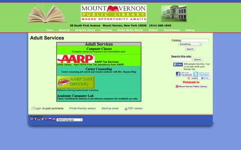 Screenshot of Services Page mountvernonpubliclibrary.org - Adult Services   Mount Vernon Public Library - captured Oct. 6, 2014