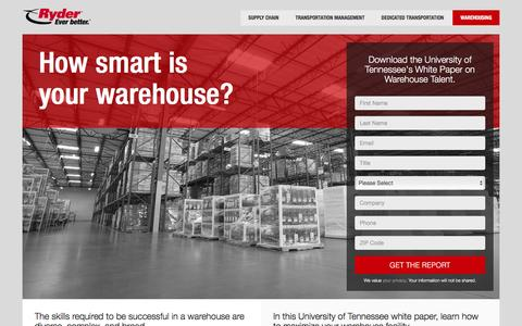 Screenshot of Landing Page ryder.com - How smart is your supply chain? - captured Sept. 6, 2016