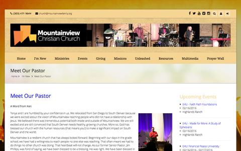 Screenshot of FAQ Page mountainviewfamily.org - Mountainview Christian Church  –  Meet Our Pastor - captured Feb. 14, 2016