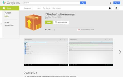 Screenshot of Android App Page google.com - XFilesharing file manager - Android Apps on Google Play - captured Nov. 3, 2014