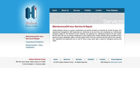 Screenshot of Services Page hudsonelevator.com - Maintenance/24 Hour Service & Repair - captured Feb. 1, 2016