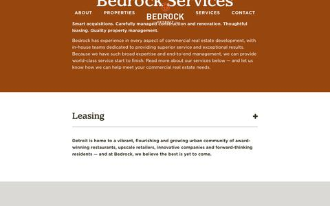 Screenshot of Services Page bedrockdetroit.com - Bedrock - Services - captured Oct. 24, 2018