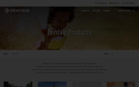 Screenshot of Products Page pentair.com - Products   Pentair - captured April 6, 2019