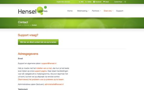 Screenshot of Contact Page henselhosting.nl - Contact - Hensel Hosting - captured July 13, 2016