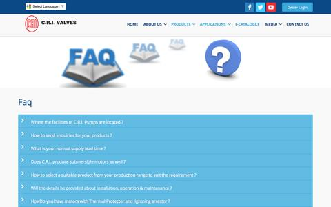 Screenshot of FAQ Page crigroups.com - CRI GROUPS – R&D, Research and Development, manufacturers, 	Coimbatore, Tamilnadu, India - captured Oct. 28, 2014