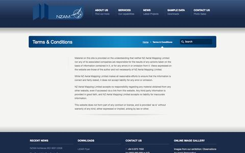 Screenshot of Terms Page nzam.com - Terms & Conditions - NZ Aerial Mapping Limited NZ Aerial Mapping Limited - captured Oct. 6, 2014