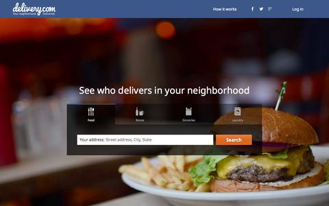 Screenshot of Login Page delivery.com - delivery.com - Your neighborhood. Delivered. | Food Delivery | Order Online From Local Restaurants - captured Sept. 18, 2014
