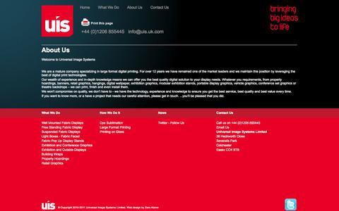 Screenshot of About Page uis.uk.com - Large format digital printers, digital graphics, large format inkjet prints: UIS, Universal Image Systems, UK - captured Oct. 3, 2014
