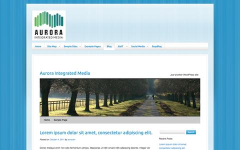Screenshot of Blog auroraintegratedmedia.com - Aurora Integrated Media | Just another WordPress site - captured Sept. 30, 2014