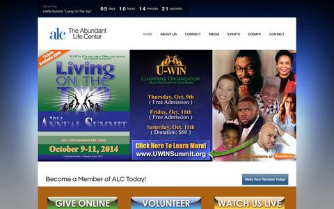 Screenshot of Home Page alcchurch.org - Abundant Life Cathedral - ALCChurch.org - Houston, Texas - captured Oct. 4, 2014