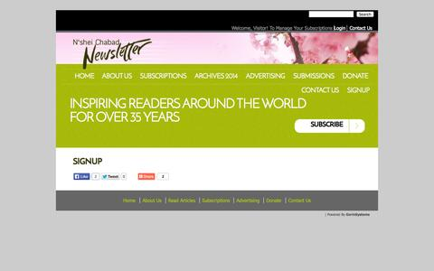 Screenshot of Signup Page nsheichabadnewsletter.com - Signup «  N'shei Chabad Newsletter - captured Oct. 26, 2014