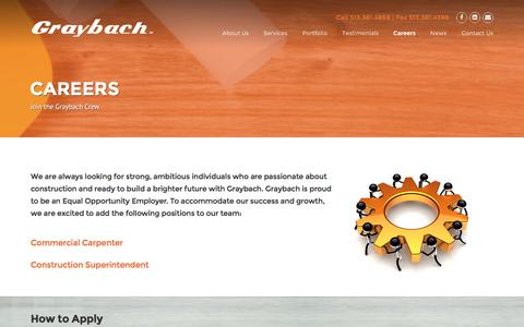 Screenshot of Jobs Page graybach.com - Careers   Graybach   Construction Management, General Contracting, and Design Build in Cincinnati, Ohio. - captured Nov. 12, 2016