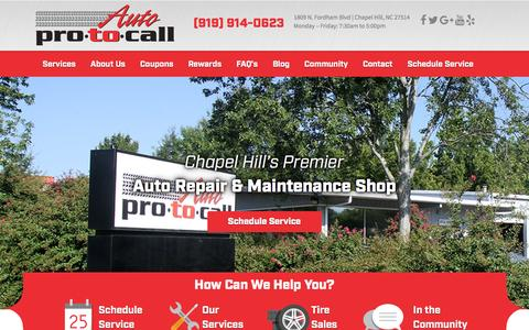Screenshot of Home Page autoprotocall.com - Auto Pro To Call � Auto Repair Chapel Hill NC | Service, Tires, Brakes - captured Dec. 27, 2015