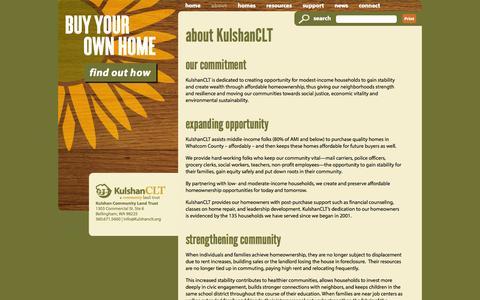 Screenshot of About Page kulshanclt.org - about KulshanCLT | Kulshan CLT - a community land trust - captured Oct. 6, 2014
