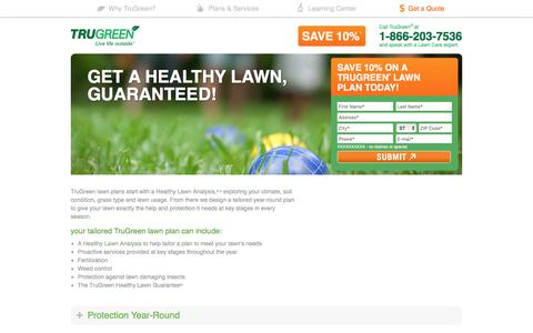 Screenshot of Landing Page trugreen.com captured Aug. 22, 2016