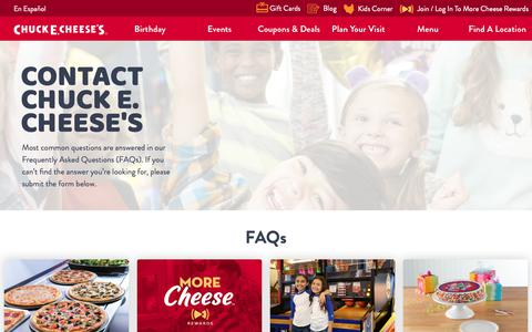 Screenshot of Contact Page chuckecheese.com - Contact  Chuck  E  Cheese's  Today - captured Nov. 3, 2018