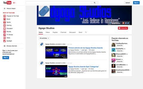 Screenshot of YouTube Page youtube.com - Dgogo Studios  - YouTube - captured Oct. 23, 2014