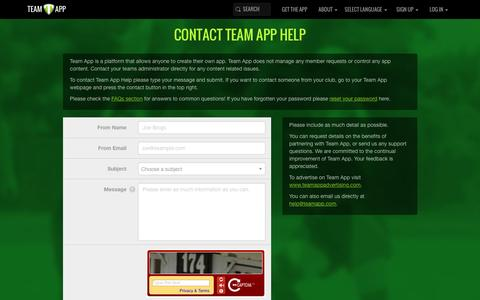 Screenshot of Contact Page teamapp.com - Contact Team App Help - captured Feb. 12, 2016