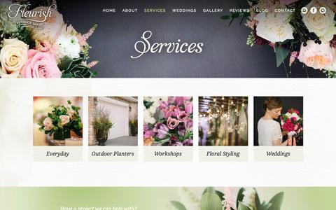 Screenshot of Services Page fleurishflowershop.ca - Services - Fleurish Flower Shop - captured March 8, 2016