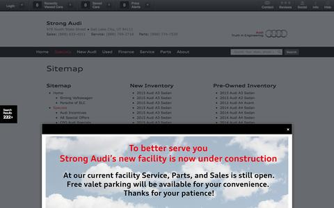 Screenshot of Site Map Page strongaudi.com - Strong Audi | Vehicles for sale in Salt Lake City, UT 84111 - captured Sept. 25, 2014
