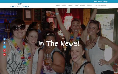 Screenshot of Press Page limocycle.com - In The News - Limo Cycle Tours - captured Aug. 14, 2017