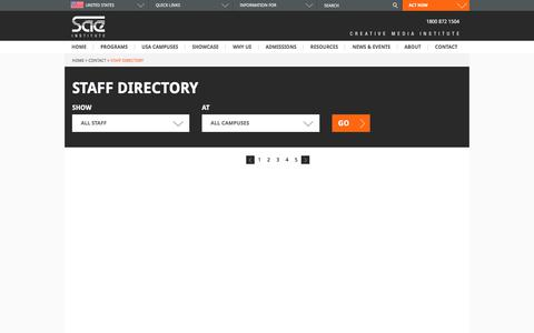 Screenshot of Menu Page sae.edu - Staff and Faculty Directory | SAE Institute » Page 15226 - captured Jan. 1, 2020