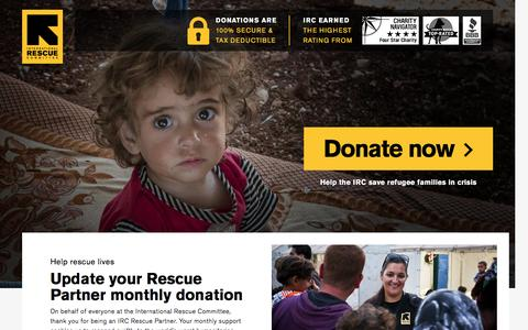 Screenshot of Landing Page rescue.org - Update your Rescue Partner monthly donation | International Rescue Committee - captured Nov. 27, 2016